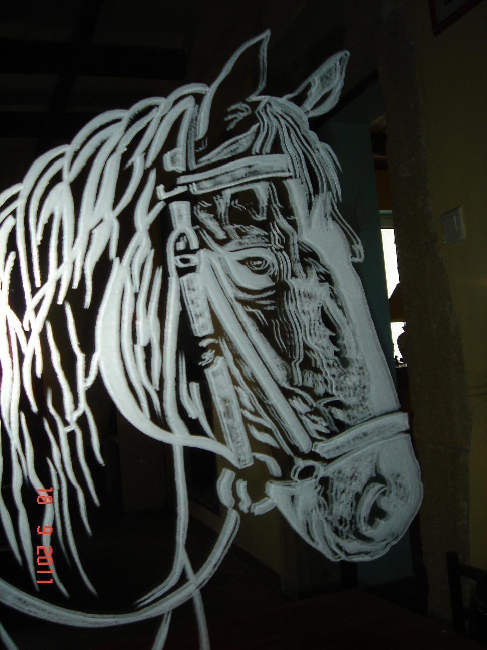 Tete de cheval en gravure sur miroir for Gravure sur miroir